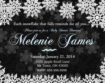 Winter Baby Shower Invites  Mom-to-Be Party Invitations Holiday shower invitation Chalkboard  snowflake baby shower invitation. Printable