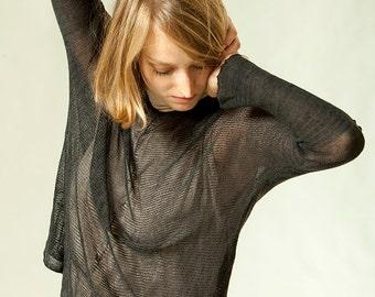 Black Blouse ,Women knitted top, transparent shirt, oversize top