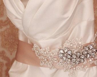 Bridal Sash, Rhinestone Bridal Sash, Crystal Wedding Belt