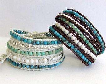Turquoise Leather Wrap Bracelet - Turquoise Mix Beads, Mountain Jade, Beach Leather - Boho Beach