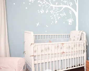 "Tree Wall Decal - Nursery Wall Decor - White Tree Wall Mural Sticker - Corner Blossom Tree decal Birds Birdhouse, Large: 93"" x 70"" - KC057"