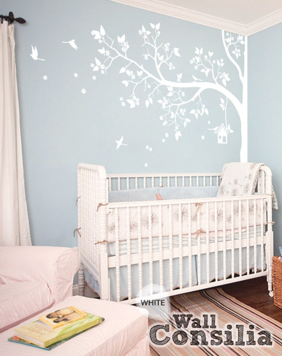 Wall Art Stickers For Nursery : Tree wall decal nursery decor white mural