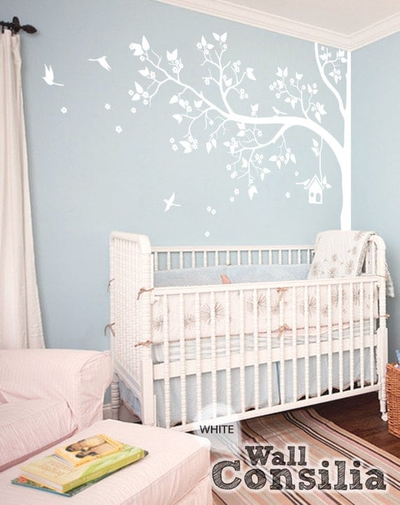 Wall Art Decor Nursery : Tree wall decal nursery decor white mural
