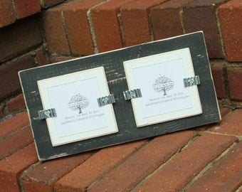 Picture Frame - Distressed Wood - Holds 2 - 3x3 Photos - Black & White