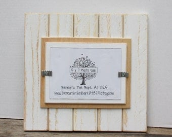5x7 picture frame distressed wood holds a 5x7 photo double mats white