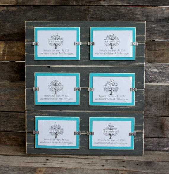 Collage Picture Frame Distressed Wood Holds 6 4x6