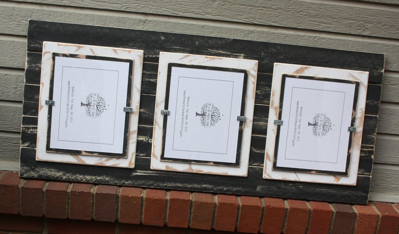 picture frame triple 8x10 distressed wood by beneaththebarkat825. Black Bedroom Furniture Sets. Home Design Ideas