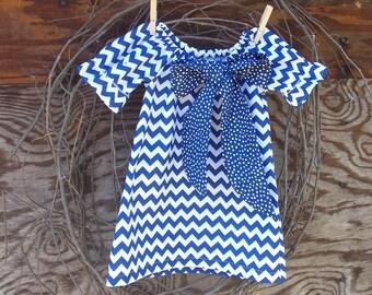 Girls Royal Blue Chevron Dress, Girls Peasant Dress, Girls Dress, Girls Chevron Dress, Kids Easter Dress
