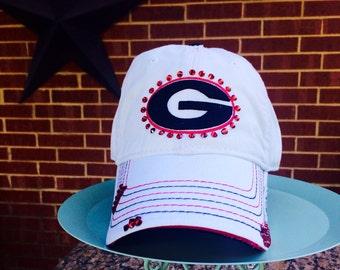 Georgia Dawgs Bling Hat Distressed Baseball Style