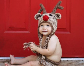 Red Nosed Reindeer hat and diaper cover set- Made to Order- Any Size