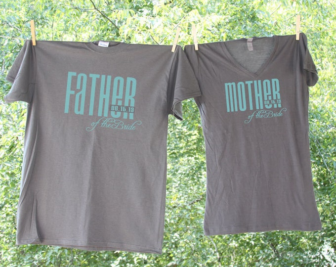 Father and Mother of the Bride Classic Droid with Date Matching Shirts - two wedding party shirts