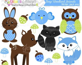 INSTANT DOWNLOAD, boys woodland animals clipart, forest clip art, for personal use, commercial use, party supply, scrapbooking