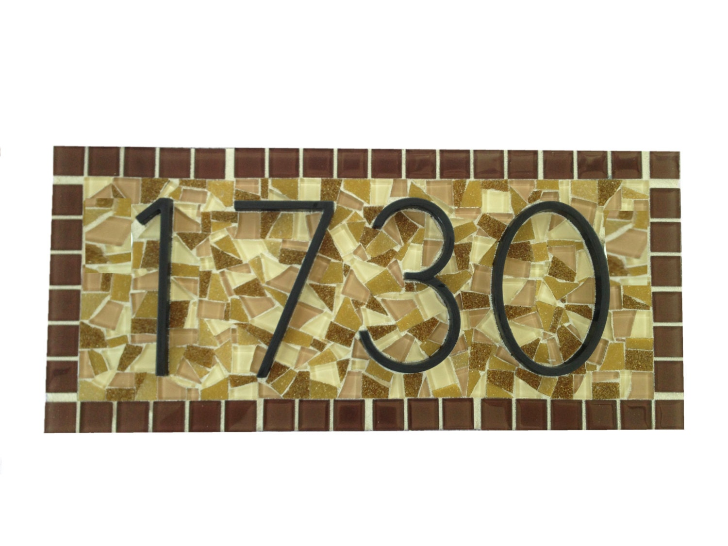 Brown and beige outdoor house number sign custom mosaic - Decorative house number signs ...