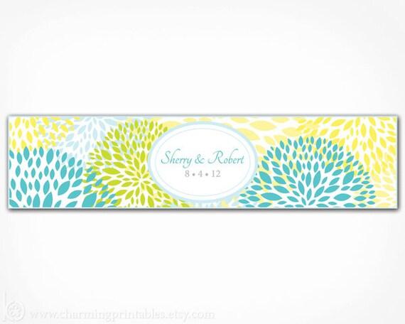 Floral Water Bottle Labels PRINTABLE DIY Digital File Wedding