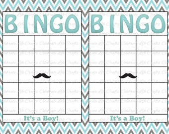 Blank Baby Shower Bingo Cards   Mustache Theme   Printable Party Boy    Instant Download