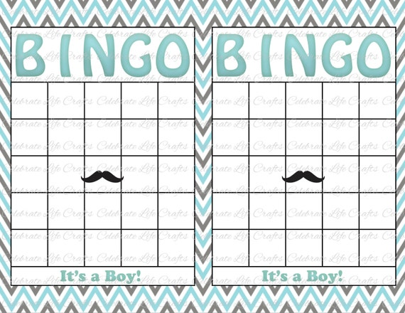 Blank baby shower bingo cards mustache theme printable party boy il570xn pin it solutioingenieria Choice Image