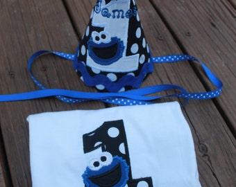 Cookie Monster Birthday Hat & Shirt set