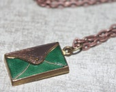 Victorian Green Enamel Charm Vintage Bag Purse Clutch Charm with New Antique Copper Chain