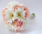 Pink Rose and White Gerbera Daisy Bouquet - Bridesmaid Bouquet or Small Bridal Bouquet, Pink and White, Fresh Looking, Artificial Flowers