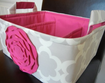 """LG Diaper Caddy 12""""x10""""x6""""(Choose COLORS)-Two Dividers-Fabric Storage Organizer-Baby Gift-""""Hot Pink Rose on Grey/neutral Tarica"""""""