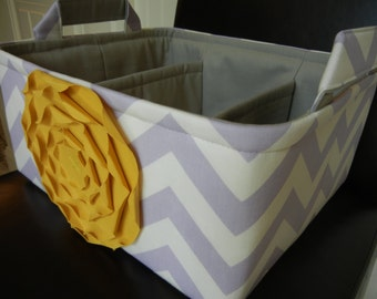 """LG Diaper Caddy(choose COLORS)12""""x10""""x6"""" Two Dividers-Fabric Storage Organizer-Baby Gift-Chevron-""""Yellow Rose on Lavender Zigzag"""""""