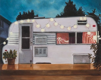Holiday Hair Trailer at Twilight, Open Edition print, retro, lights, camping