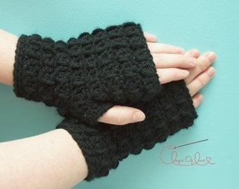 PDF Crochet Pattern Elise Wrist Warmers Fingerless Gloves