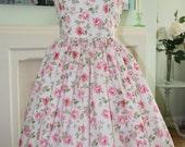 SALE !! 1950s Style dress pink peach  floral print xl l