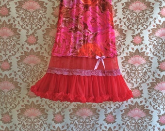 red orange plum brown lavender floral  petticoat skirt by mermaid miss k