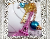 SALE Honeysuckle Pink Precious Tour Eiffel Tower Keychain, Petite Gold Key, Large Pearl, Paris Gift Hand Wrapped