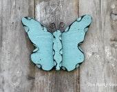 Butterfly, Summer Decor, Spring Decor, Primitive Spring, Cottage Decor, Farmhouse Chic, Shabby Decor, Aqua Blue, Childrens Room Decor