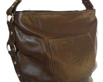 Shoulder purse / brown patent leather bag / everyday handbag sujey