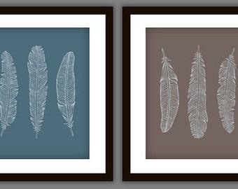 Feather Modern Art Print Set (Set of 2)