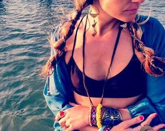 Crocheted Hairwraps,Bohemian hair accessory,beaded hair wraps, handmade crocheted beaded hair ties, headbands, hippiestyle hair wraps