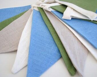 Bunting / Fabric Flag Banner / Pennant Nursery / Porch / Patio Decor / Photo Prop / Light Gray / Blue / Green / White