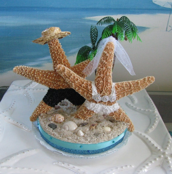 Starfish On A Beach Wedding Cake Topper Palm Tree Wedding Cake
