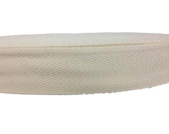 Cotton Twill Tape 50 yards 1 inch Wholesale Herringbone Straps Binding Natural