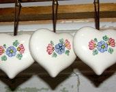 Vintage Set of Three Ceramic Heart Sachets