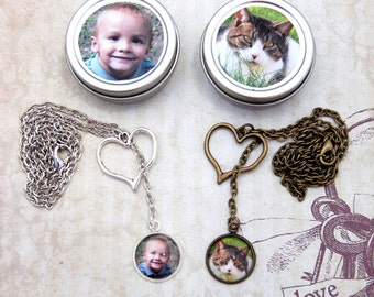 2 Photo Lariat Necklaces Heart Custom Necklaces Single or Double Sided in Personalized Gift Tin for Moms Pet Moms Friends Pet Lovers
