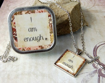 I Am Enough Affirmation Necklace in matching Gift Tin Self Awareness Mantra Quote in Pendant Necklace for friends mothers teens
