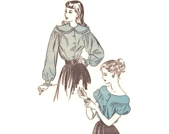 Vintage 1940s Sewing Pattern - Drop Shoulder Poet Blouse with Puff or Balloon Sleeves - Advance 4614, Bust 30, Uncut