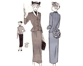 1950s Ladies Suit Pattern, Butterick 4626, Detachable Bustle, Nip Waist Peplum Jacket, Slim Skirt, Vintage Sewing Pattern Bust 30 Uncut