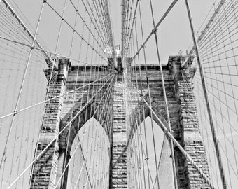 Brooklyn Bridge, New York, NYC, Black & White, Insant Download ,Digital, Printable Fine Art Photography