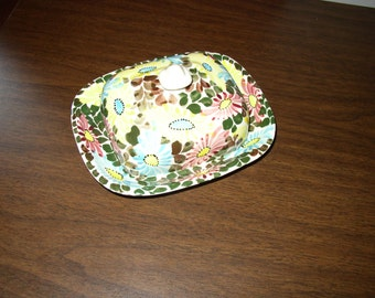 Hand Painted Ceramic Butter Dish with Lid