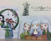 2013 Christmas Cards - Original Art Work PRINT, Carollers + Wreaths [CUTE and UNIQUE]