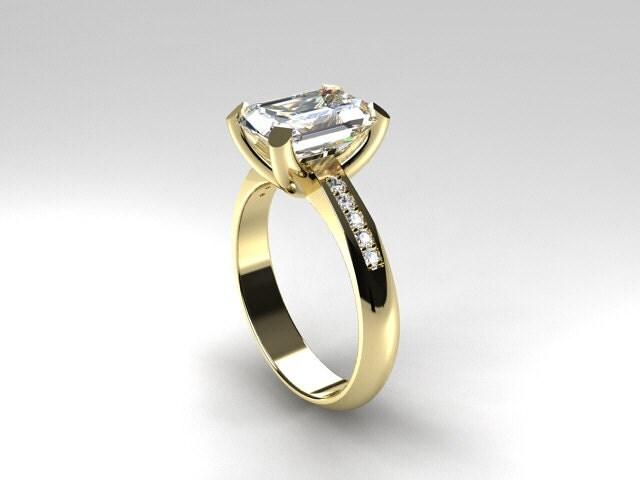 emerald cut white topaz ring ring emerald cut