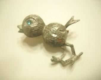 Vintage Silver Tone Bird Pin (2859)