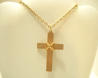 Reversible Copper Colored Cross Pendant Necklace (4521)