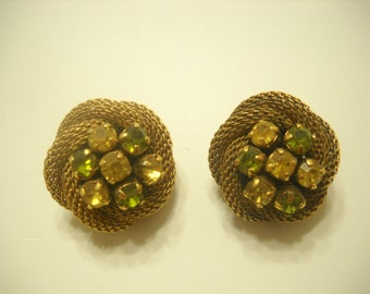 Vintage Rhinestone Clip Earrings (4935) Austria