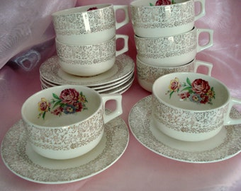Vintage Teacups Everbrite China Tea Cups and Saucers Shabby Cottage Chic Floral Set of 7 Vintage Wedding